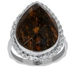 8.75 CTW genuine bronzite sterling silver ring