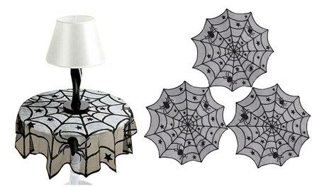 1-3 Pack Halloween Spider 40 inch Round Polyester Lace Table Topper Tablecloth