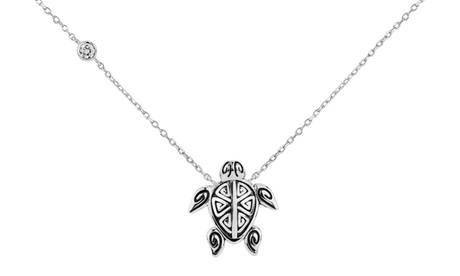 Sterling Silver Cubic Zirconia Oxidized Turtle Necklace 14860e2c-09b9-41f6-8a54-428696010095