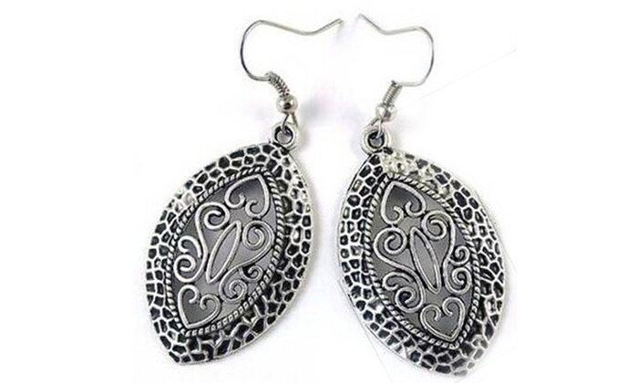 Antique Silver Filigree Teardrop Earrings