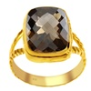 Orchid Jewelry Yellow Gold Over Silver Cushion-cut Smoky Quartz Ring