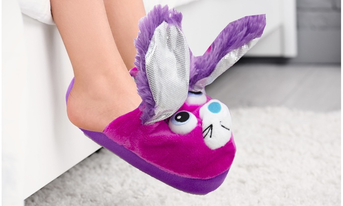 c2107278b17 Stompeez Purple Bunny Slippers Unisex Kids (Large) 2.5-6