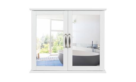 Costway Bathroom Cabinet 2-Tier Wall-Mounted Mirror Storage Cabinet W/Handles