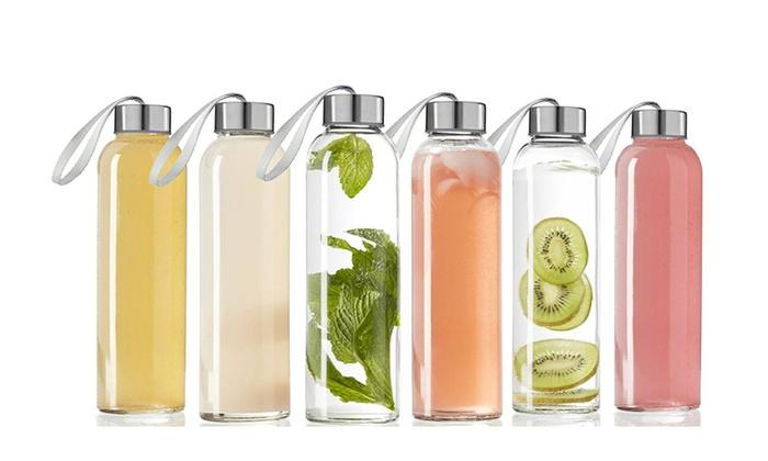 Glass water Bottle 6 Pack 18oz Bottles For Beverage and Juicer