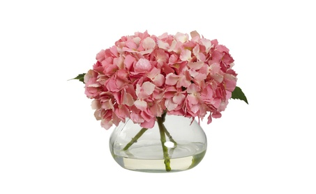 Nearly Natural Blooming Hydrangea With Vase 78155857-e5bc-4594-bf11-eabd2b671475