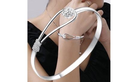 Cherry Blossom Single Thread Buckle Romantic Flower 925 Silver Plated Bracelet