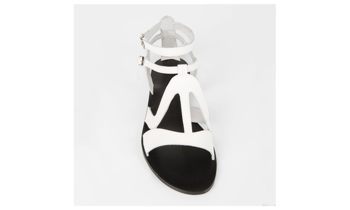 White Leather Sandals for Women