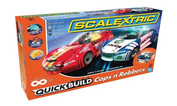 Scalextric Quickbuild Cops Robbers 1-32 Slot Car Race Set,Age 8 Plus