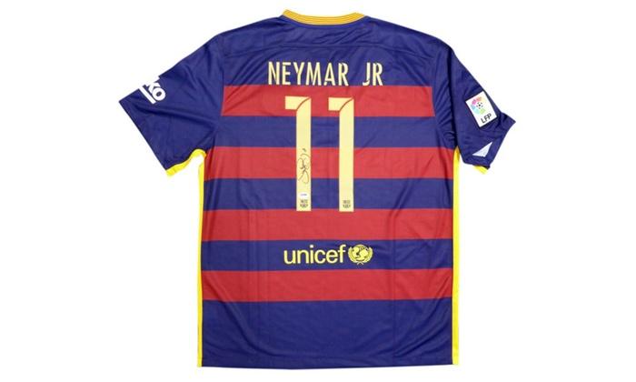 size 40 783d5 6c9de Autographed Neymar Jr. Barcelona Qatar Airways Nike Jersey