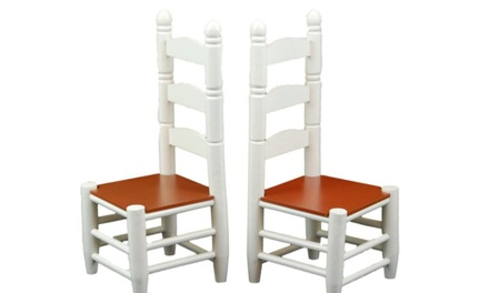 18 inch doll furniture wooden farmhouse kitchen chairs for Kitchen set groupon