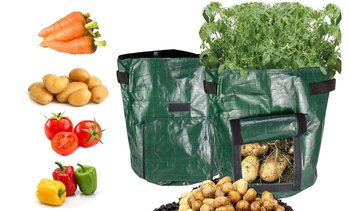 2 Pack Garden Potato Grow Bag Access Flap Vegetable Plant Bag(7-, or 10 Gallon)
