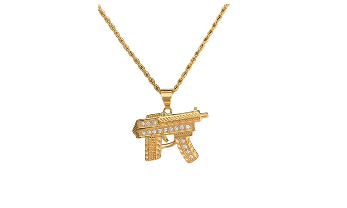 Up to 56 off on men smg gun pendant necklace groupon goods men smg gun pendant necklace in gold tone stainless steel rope chain mozeypictures Images