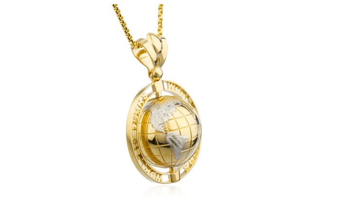 Up to 55 off on 14k gold world is yours rot groupon goods 14k gold world is yours rotating globe pendant 24 aloadofball Choice Image