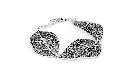 Antiqued Silver tone Leaf Filigree Link Bracelet 3fe6c484-58bf-4649-a290-535d401b1cbe
