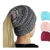 Women's Soft Cable Knit Skull Cap Slouchy Beanie Ponytail Cap