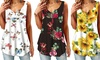 2020 Women's Summer Printed V-neck T-shirt Sleeveless Loose Tank