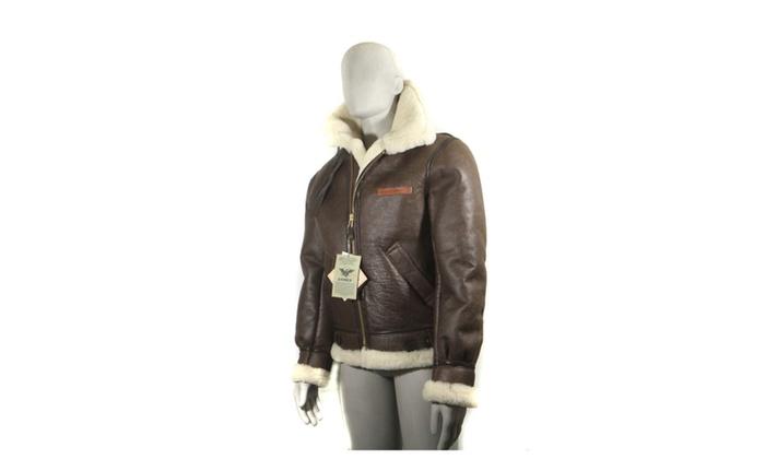 d76399db2 Avirex Vintage B-3 Leather Sheepskin Shearling Bomber Men's Jacket ...