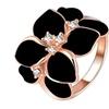 Rose Gold Color Crystal Black Enamel Flower Wedding Ring