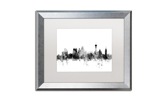 Michael Tompsett \'San Antonio Texas Skyline B&W\' Silver Framed Art ...