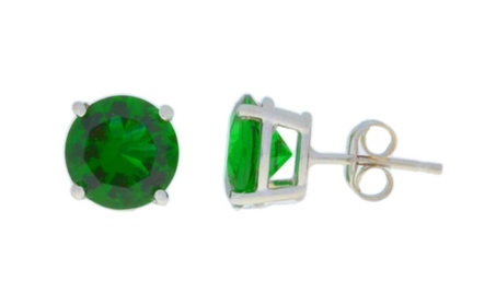 925 Sterling Silver Lab-Created Round Emerald Stud Earrings 93ecd0f8-bbc8-4916-9395-1bf6d431425e