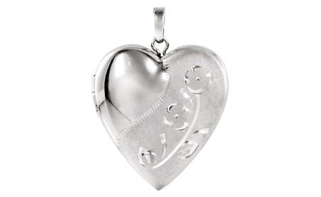 Sterling Silver Design-Engraved Heart Locket deb2aad5-77b4-44b0-9ec3-db6cf72cd53a