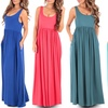 Women's Spring Ruched Maxi Dress with Pockets