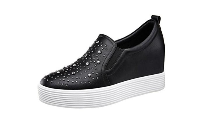 Passionow Round Toe Slip-on Platform Hidden Wedge Heel Loafer Shoes