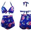 Women Floral Retro Halter High Waist Bikini