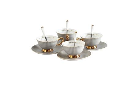 Porcelain Tea Cup and Saucer Coffee Cup Set White color Set of 4 af4dda15-f410-48ca-9a59-0c48ba881992