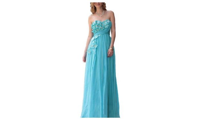 Women's Flower Floor Length Zipper Chiffon Strapless Evening Dresses