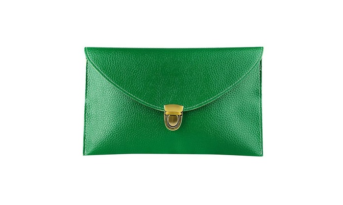Zodaca Ladies Women PU Leather Shoulder Bag Handbag w Chain Mint Green