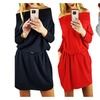 Womens Off Shoulder Long Sleeve Club Bodycon Party Loose Midi Dress