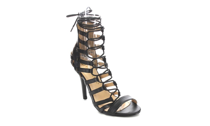 Beston CC07 Stiletto Heel Caged Lace Up Gladiator Style Calf Sandals