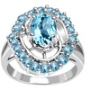 Orchid Jewelry Solid Silver 2 6/7 Carat Blue Topaz Cocktail  Ring