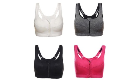 4Packs/3Packs Women's Zipper Front Sports Yoga Bra a691b7a4-76ba-4f34-8de9-c179101776cc