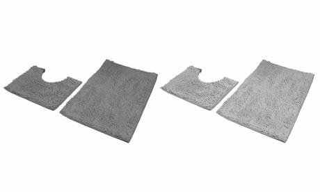 2 Pieces Bathroom Rug Set Anti-Slip Bath Rug and Toilet Mat Chenille Bath Mat