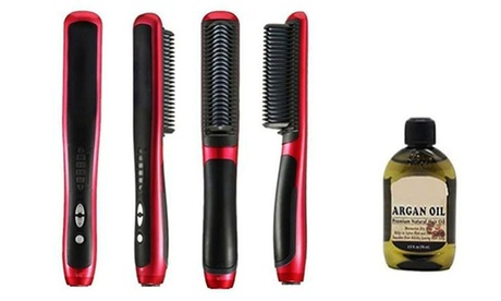 Women's Hair Straight Hot-Comb Hair Straightener With Argan Oil Hair Treatment