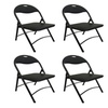 Black Metal Folding Chair with Padded Seat for Comfort Steel Frame 4