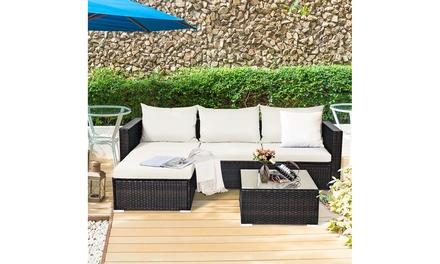 5PCS Patio Rattan Furniture Set Sectional Conversation Sofa w/ Coffee Table
