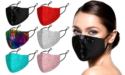 6 Pack : Reversible Sequined Cotton Fashion Face Masks With Adjustable Ear Loops Was: $24.99 Now: $11.99