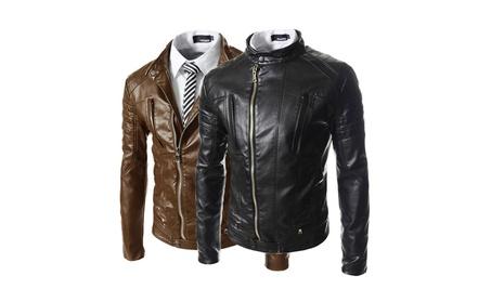 Full Zipper Faux Winter Leather Jacket for Men 0abd38d7-cc96-49ee-af9b-dda79e106fad