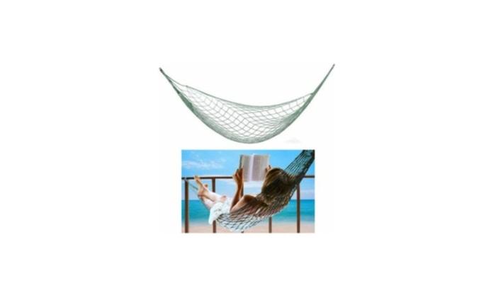 Single Nylon Weave Rope Hammock Swing Lounge Bed 220lb Capacity