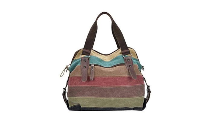 Gillberry Women Canvas Striped Crossbody Bags Vintage Contrast Tote Handbags – as picture / free size