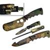 4pc Camo Hunting Knife Set Butcher Skinning Pruning Knives Sharpener