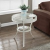 "I 2141-Accent Table - 22""Dia / Antique White With Tempered Glass"