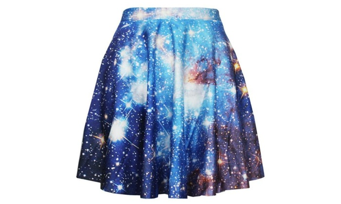 Womens Digital Print Stretchy Flared Pleated Casual Mini Skirt