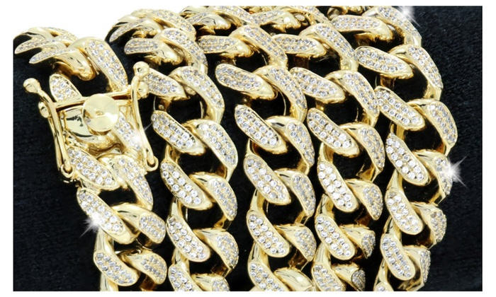 e8811d1a525c81 12mm Cuban Link Chain - 20ct TW VVS Lab Diamonds - 14k Gold Plated ...