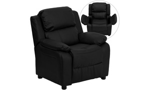 Deluxe Padded Contemporary Leather Kids Recliner with Storage Arms