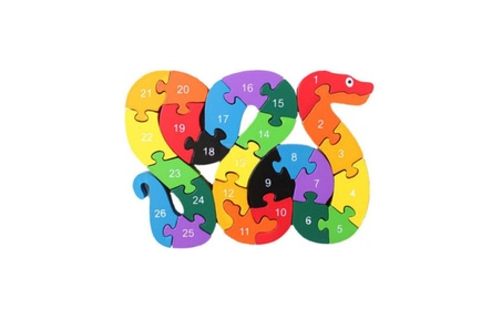 Wooden Block Toys Alphabet Number Building Jigsaw Puzzle Snake Shape 03d6a8ee-989b-4883-a420-88466dfb28ea