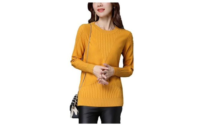 Women's Casual Regular Fit Solid Simple Pullovers
